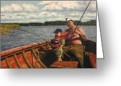 Marenart Greeting Cards - Some fishing with grandpa  Greeting Card by Maren Jeskanen