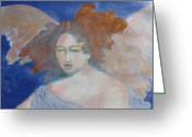 Guardian Angel Drawings Greeting Cards - Some One To Watch Over Me Greeting Card by Diane montana Jansson