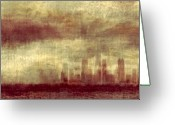 Chicago Skyline Greeting Cards - Someone To Hold You Beneath Darkened Sky Greeting Card by Dana DiPasquale