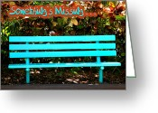 Empty Park Bench Greeting Cards - Something Is Missing Greeting Card by Carolyn Marshall