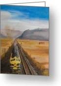 Trains Painting Greeting Cards - Somewhere West of Corning Greeting Card by Christopher Jenkins