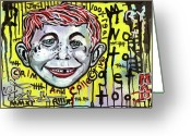 Outsider Art Mixed Media Greeting Cards - Somtimes I Worry Greeting Card by Robert Wolverton Jr