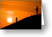 Childs Greeting Cards - Son catch the Sun Greeting Card by Okan YILMAZ