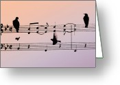 Crow Digital Art Greeting Cards - Songbirds Greeting Card by Bill Cannon