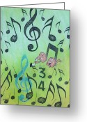 Blues Pastels Greeting Cards - Songs and Standards Greeting Card by Richard Van Order