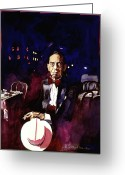 Music Icon Greeting Cards - Sonny Greer jazz drummer Greeting Card by David Lloyd Glover