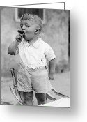 Number 12 Greeting Cards - Sonny Smokes A Cigar Greeting Card by Fpg
