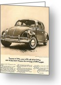 Advertisement Greeting Cards - Sooner or later your wife will drive home.............. Greeting Card by Nomad Art And  Design