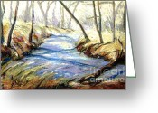 Lighting Pastels Greeting Cards - Sope Creek Greeting Card by Gretchen Allen