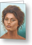 Loren Greeting Cards - Sophia Loren Greeting Card by Rob De Vries
