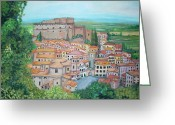 Teresa Dominici Greeting Cards - Soriano Nel Cimino Greeting Card by Teresa Dominici