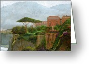 Cliff Painting Greeting Cards - Sorrento Albergo Greeting Card by Trevor Neal