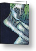 Blue Art Pastels Greeting Cards - Sorrow Greeting Card by Kamil Swiatek