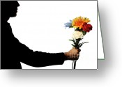 Holding Flower Greeting Cards - Sorry Greeting Card by Sami Sarkis