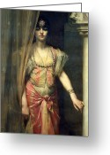 Femme Painting Greeting Cards - Soudja Sari Greeting Card by Gaston Casimir Saint Pierre