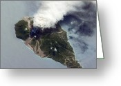 Rising From Earth Greeting Cards - Soufriere Hills Eruption, Iss Image Greeting Card by Nasa