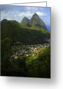 Williams Photo Greeting Cards - Soufriere Village- St Lucia Greeting Card by Chester Williams