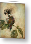 Skull Greeting Cards - Soul of a Bird Greeting Card by Caroline Jamhour