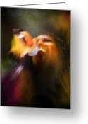 Musicians Glass Greeting Cards - Soul Scream Greeting Card by Miki De Goodaboom
