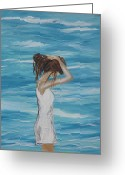Woman In Pool Greeting Cards - Sound of Solitude Greeting Card by Leslie Allen