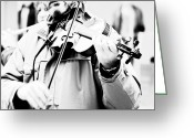 Violinist Greeting Cards - Sounds of a stranger Greeting Card by Gabriela Insuratelu