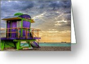 Fathers Greeting Cards - South Beach Dawn Greeting Card by William Wetmore
