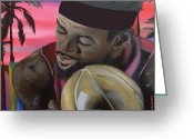 Lbj Greeting Cards - South Beach LeBron Greeting Card by Chelsea VanHook