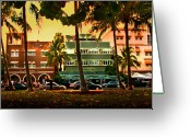 South Beach Greeting Cards - South Beach Ocean Drive Greeting Card by Steven Sparks