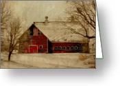 Snow Digital Art Greeting Cards - South Dakota Barn Greeting Card by Julie Hamilton