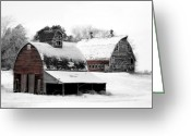 Snow Digital Art Greeting Cards - South Dakota Farm Greeting Card by Julie Hamilton