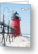 Winter Prints Greeting Cards - South Haven Pierhead Light Greeting Card by Michael Peychich