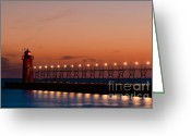 Dark Cloud Greeting Cards - South Haven Reflection Greeting Card by Sebastian Musial