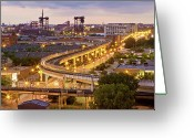 Long Street Greeting Cards - South Loop Long Exposure Greeting Card by Delobbo.com