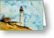 Michigan Drawings Greeting Cards - South Manitou Island Lighthouse Greeting Card by Michael Vigliotti