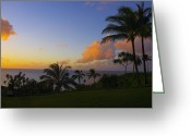 Tropical Photographs Greeting Cards - South Pacific Sunset Greeting Card by John  Greaves