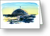 Antarctica Tapestries - Textiles Greeting Cards - South Pole Dome Antarctica Greeting Card by Carolyn Doe