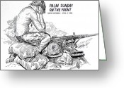 Military Hero Drawings Greeting Cards - South Vietnam Veteran Greeting Card by Bill Joseph  Markowski
