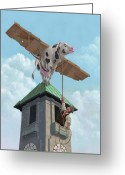 M P Davey Digital Art Greeting Cards - Southampton Cow Flight Greeting Card by Martin Davey