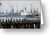Crane Greeting Cards - Southampton old pier and docks Greeting Card by Jane Rix