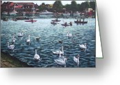 Swans Painting Greeting Cards - Southampton Riverside Park River itchen Greeting Card by Martin Davey