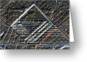 Art Of Building Digital Art Greeting Cards - Southbank London abstract Greeting Card by David Pyatt