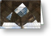 Abstract Building Greeting Cards - Southbank London Building Abstract Greeting Card by David Pyatt
