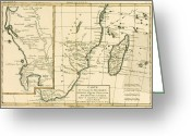 Old Map Drawings Greeting Cards - Southern Africa Greeting Card by Guillaume Raynal