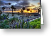 San Clemente Pier Greeting Cards - Southern California Sunset Greeting Card by Sean Foster