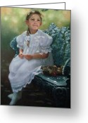 Janet Mcgrath Greeting Cards - Southern Girl Portrait Greeting Card by Janet McGrath