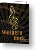 Linda Seacord Greeting Cards - Southern Rock Music Poster Greeting Card by Linda Seacord