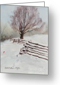 Split Rail Fence Painting Greeting Cards - Southern Snow  Greeting Card by Bobby Walters