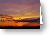 Purple Sky Greeting Cards - Southern Sunset Greeting Card by Toni Hopper