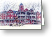 Winter Prints Greeting Cards - Southern Virginia University In Winter Greeting Card by Kathy Jennings