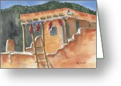Adobe Architecture Greeting Cards - Southwest Adobe Greeting Card by Marsha Elliott